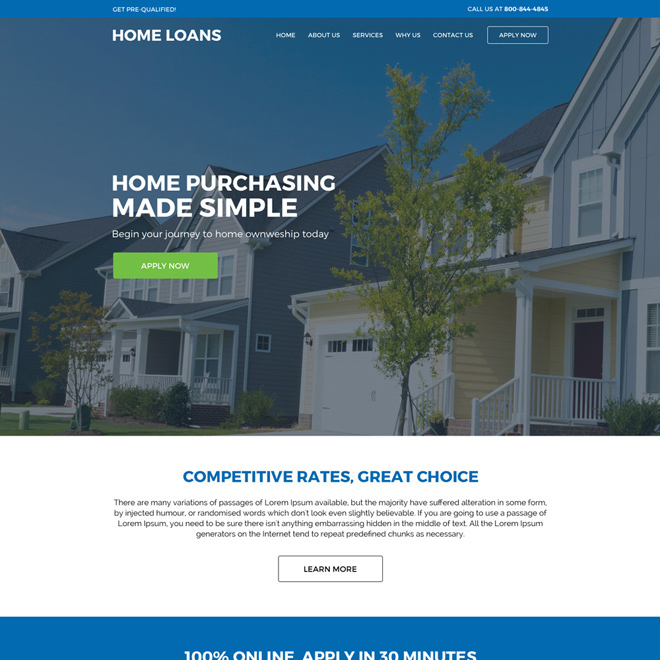 responsive home loan service online application lead capturing website design Home Loan example