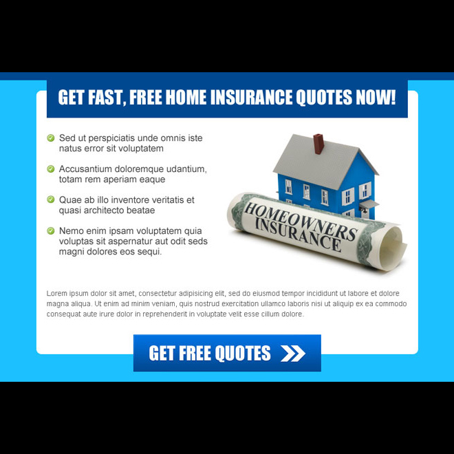 get home insurance free quote fast converting ppv landing page design Home Insurance example
