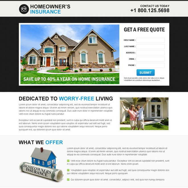 home owners insurance clean and minimal lead capture squeeze page design Home Insurance example