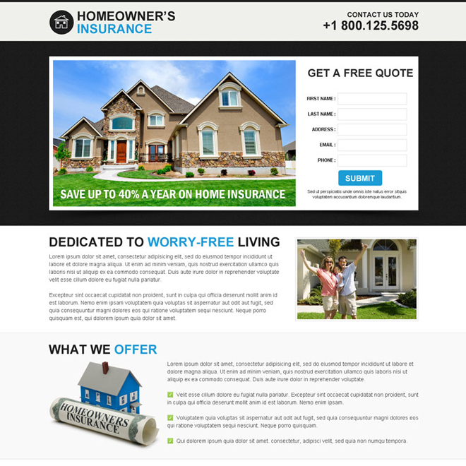 best insurance service for home owners lead capture responsive landing page design template Home Insurance example