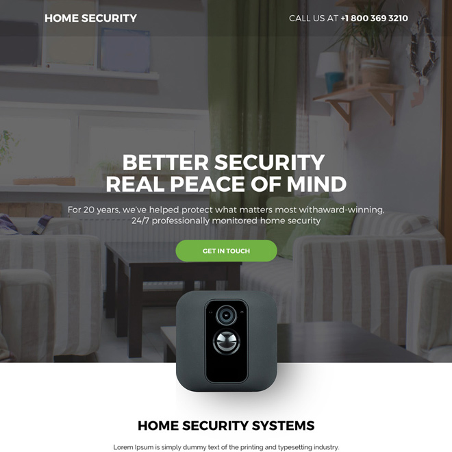 home security systems bootstrap landing page design Security example