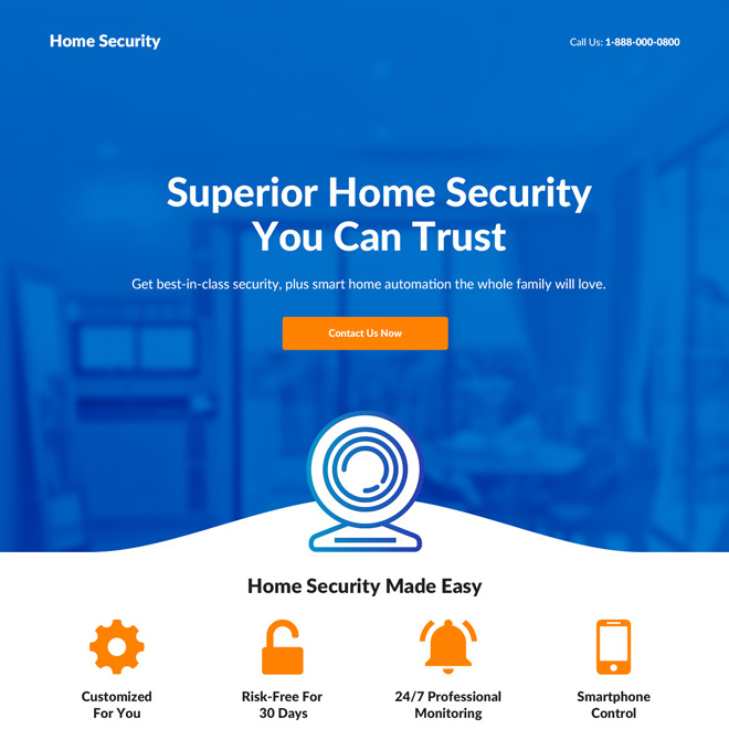 home security system lead capture responsive landing page Security example