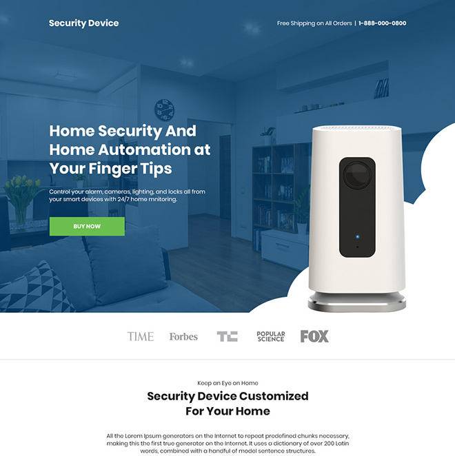 home security and automation device selling responsive landing page Security example