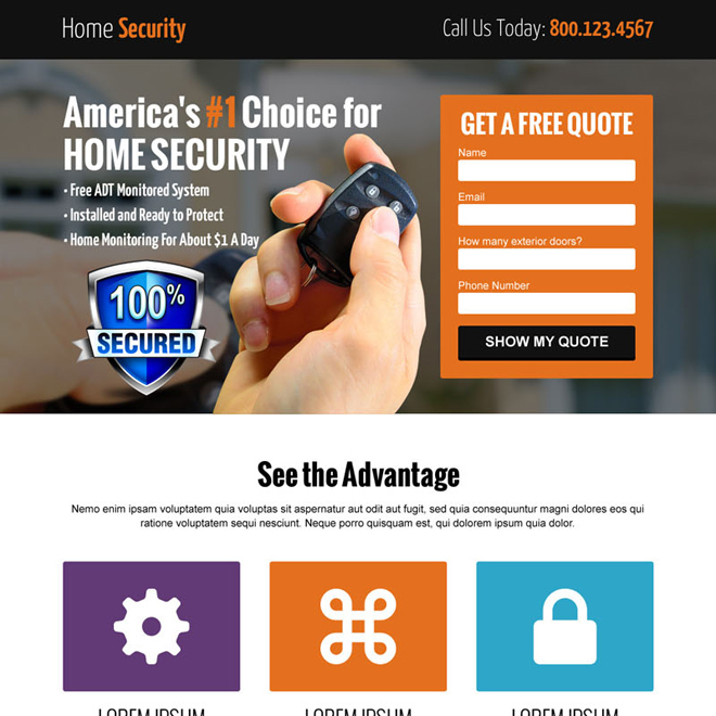 home security free quote lead capture landing page Security example