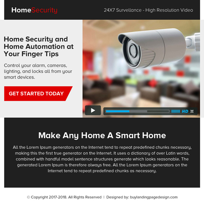 home security video ppv landing page design Security example