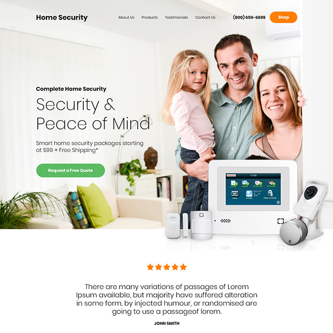 home security products responsive website design Security example