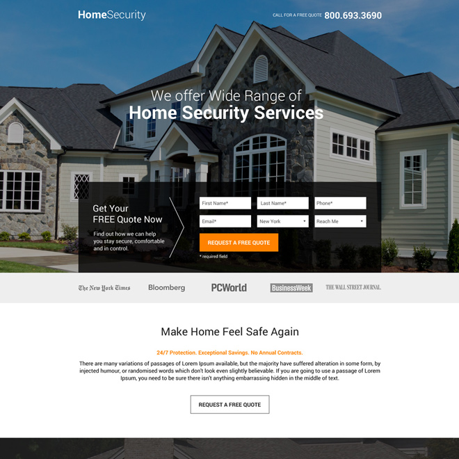 home security service free quote lead gen landing page Security example