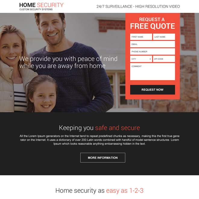 home security system free quote responsive landing page design Security example