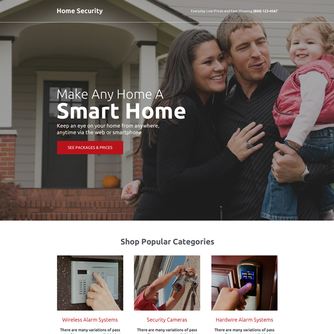 home security call to action landing page design Security example