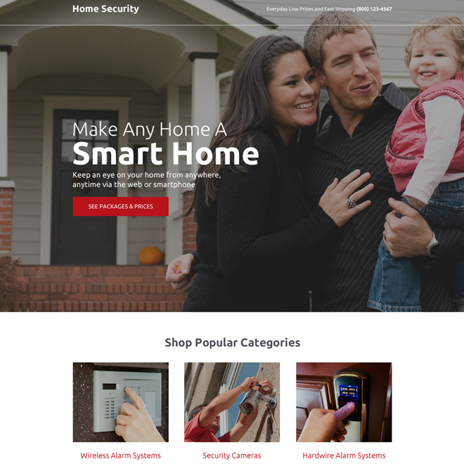 home security solution responsive landing page design Security example