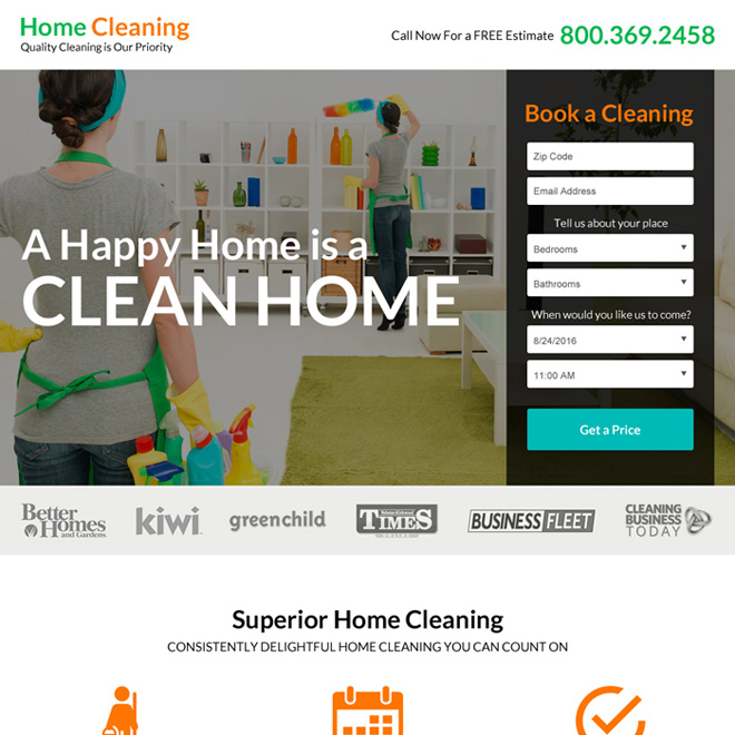 superior home cleaning service lead gen landing page design Cleaning Services example