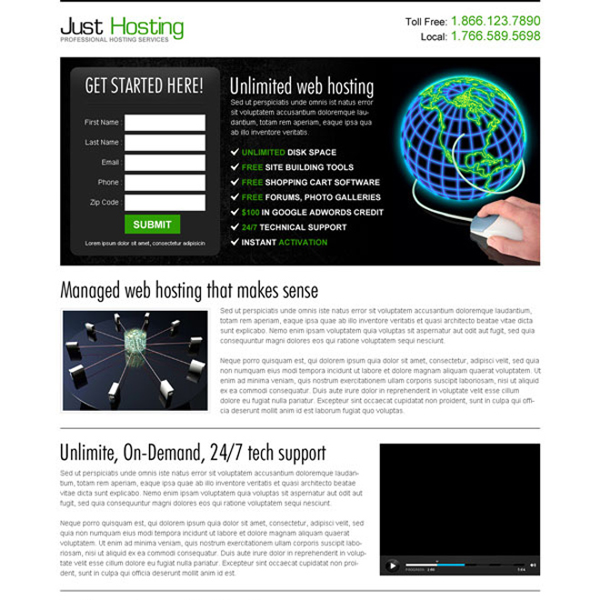 unlimited web hosting free lead capture effective lander design Web Hosting example