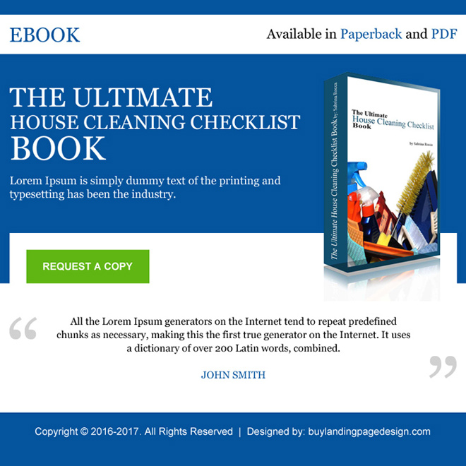 house cleaning ebook selling ppv landing page design E Book example