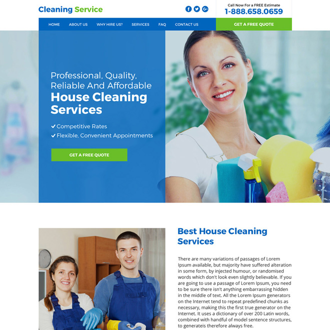 house cleaning service responsive website design Cleaning Services example