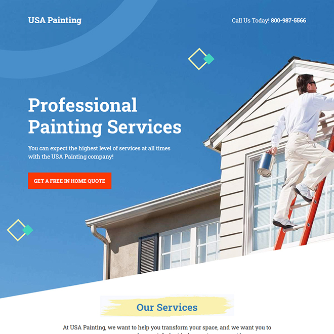 professional house painting contractors landing page design Home Improvement example
