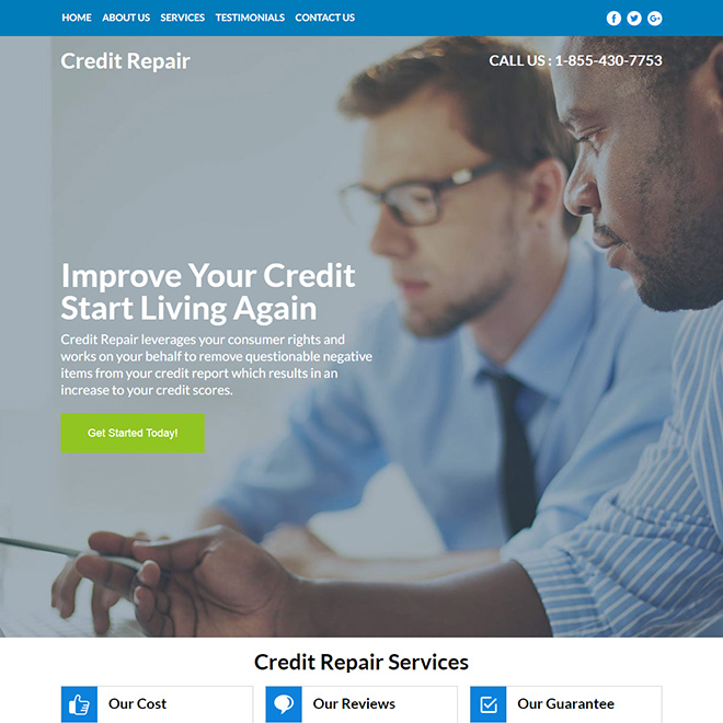credit repair service responsive website design Credit Repair example