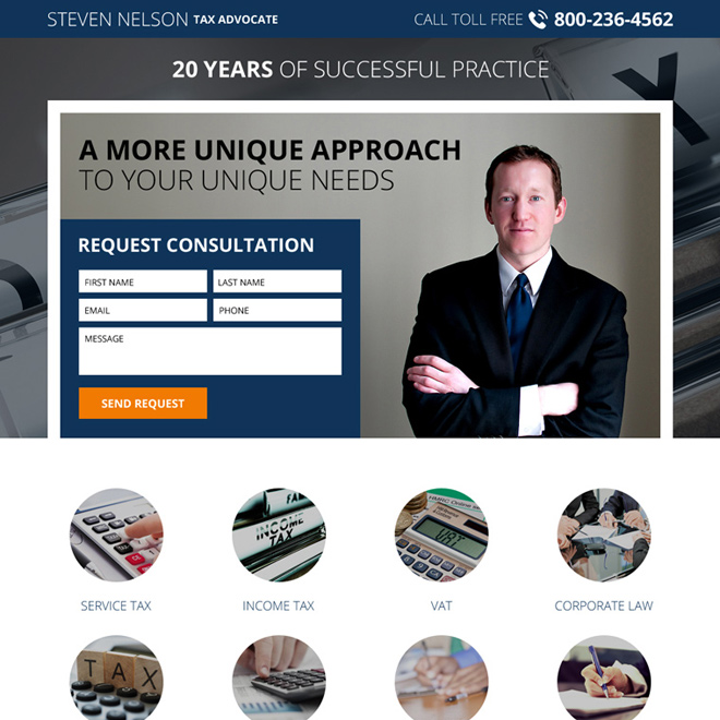 income tax lawyer responsive lead generating landing page Attorney and Law example