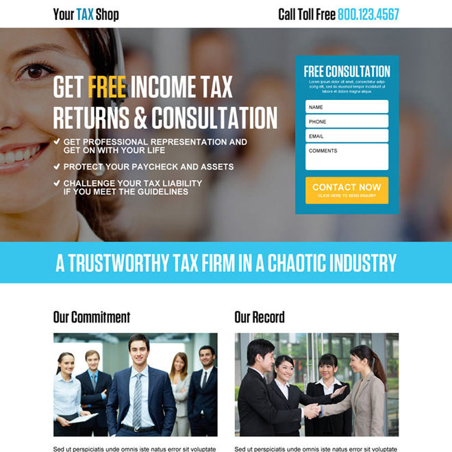 income tax return free consultation lead capture landing page design Tax example