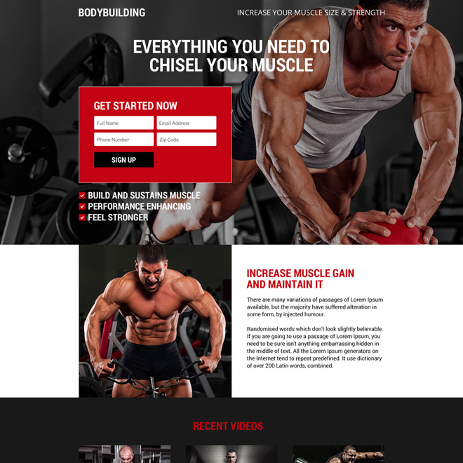 premium body building lead gen landing page Bodybuilding example