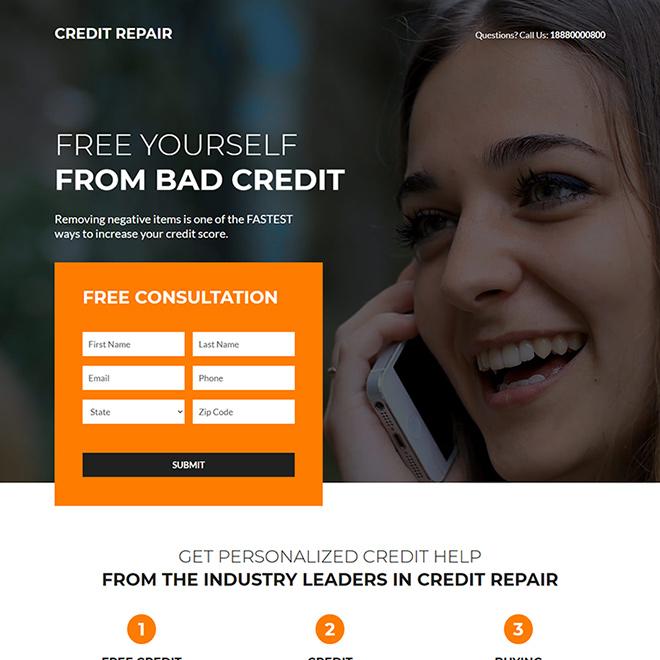 bad credit repair lead capture responsive landing page design Credit Repair example
