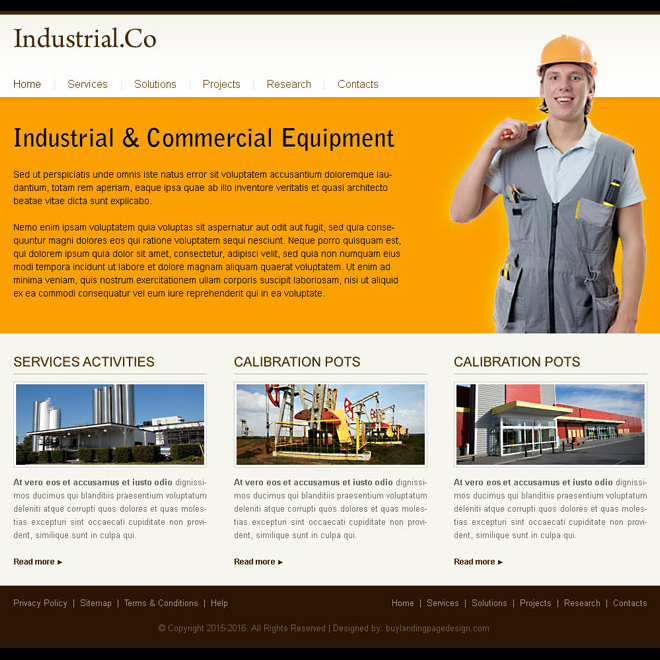 minimal industrial commercial equipment website template design psd Website Template PSD example