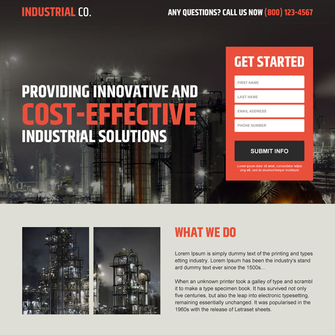 professional industrial lead capture landing page design Industrial example