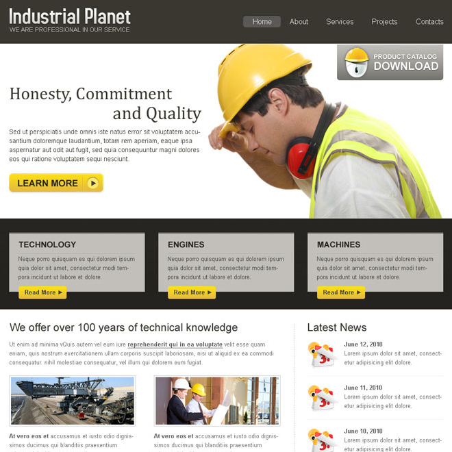Industrial planet clean and simple website template design psd for Industrial design sites