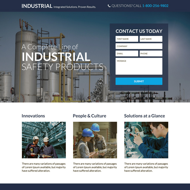 industrial safety products responsive landing page design Industrial example