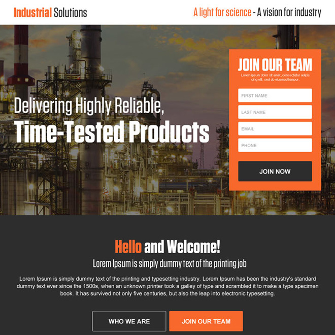 industrial solutions lead generating landing page Industrial example
