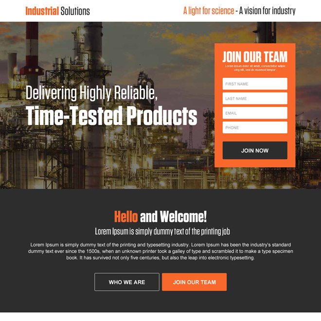 industrial solutions sign up capturing responsive landing page design Industrial example