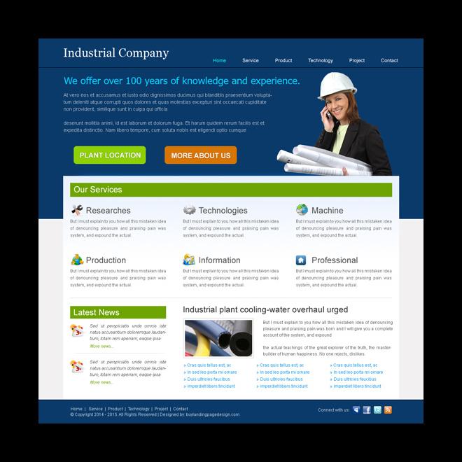 best industrial website template design psd for your industrial website Website Template PSD example