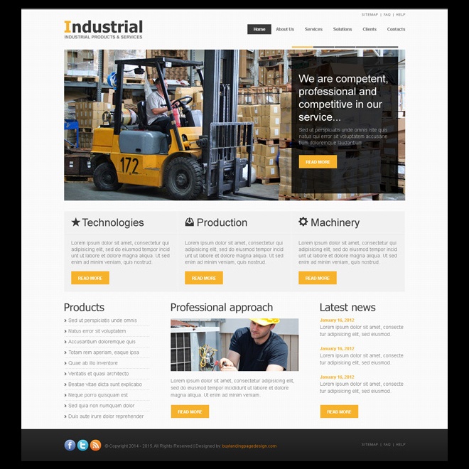 clean and attractive website template design psd to create your industry online website Website Template PSD example