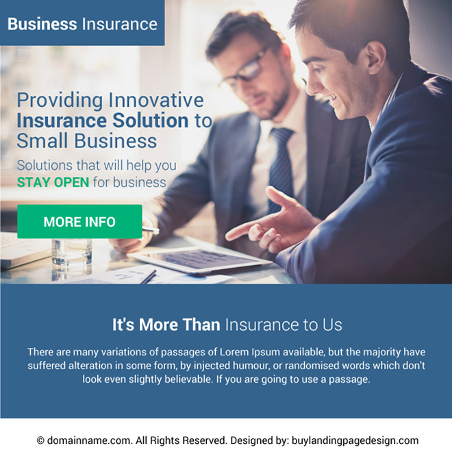 innovative business insurance ppv landing page design Business Insurance example