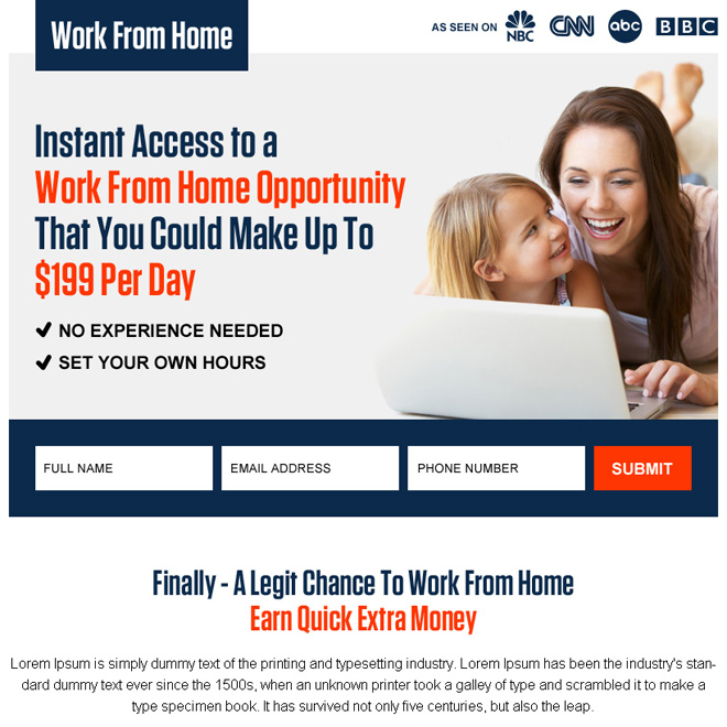 instant work from home opportunity ppv landing page design Work from Home example