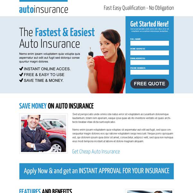 fastest and easiest auto insurance lead capture landing page design to boost your leads Auto Insurance example