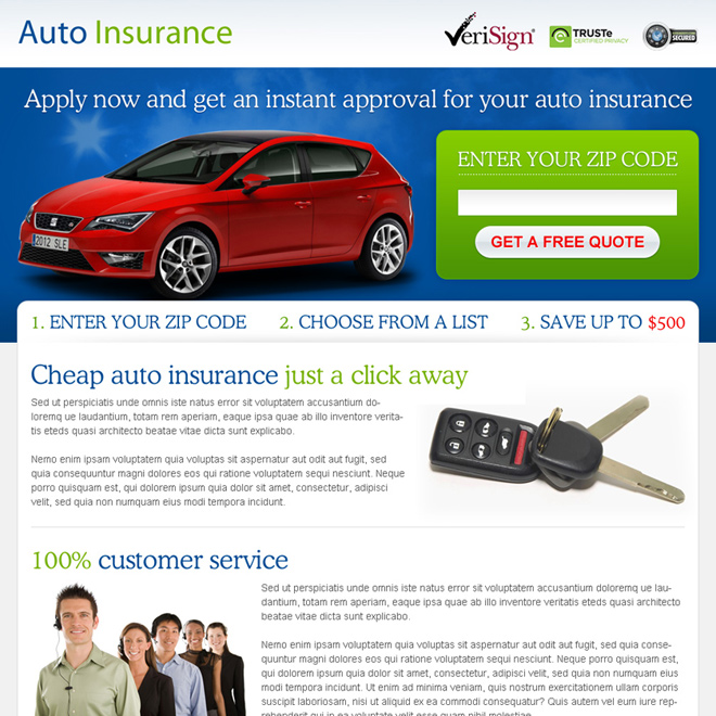 get instant approval on your auto insurance zip capture lead gen page design Auto Insurance example