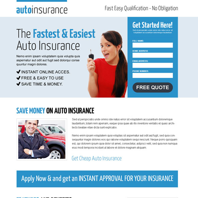 clean and effective instant auto insurance responsive lead capture landing page design Auto Insurance example