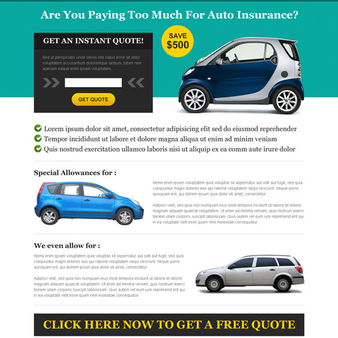 get instant quote for auto insurance landing page design Auto Insurance example