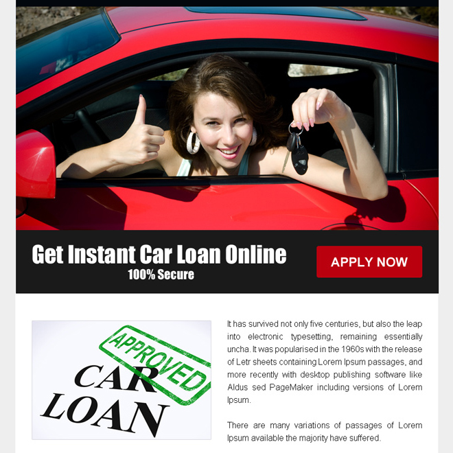 Instant car loan online call to action ppv landing page design Auto Finance example