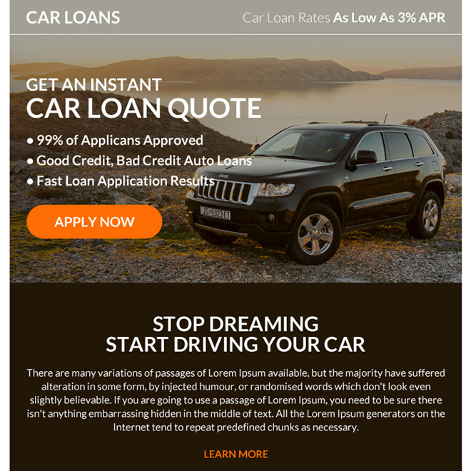 instant car loan online application ppv landing page Auto Finance example