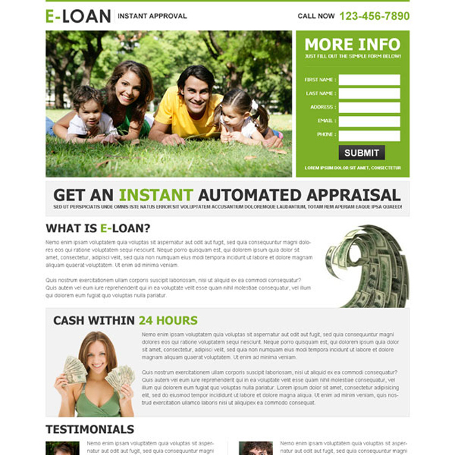 e-loan instant approval lead capture landing page design template Loan example