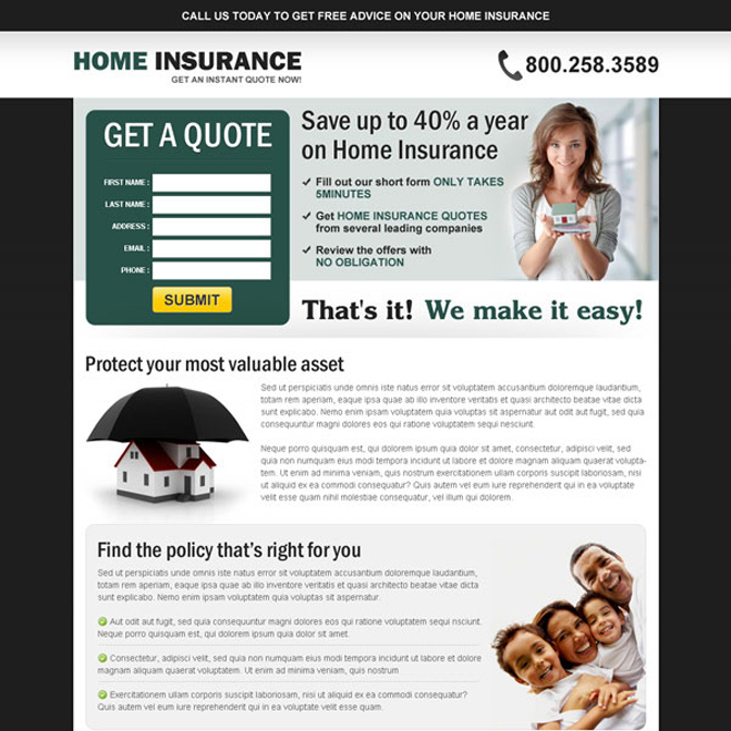 get a free quote on your home insurance converting squeeze page design to maximize your conversion Home Insurance example