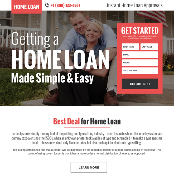 instant online home loan lead generating landing page design Home Loan example