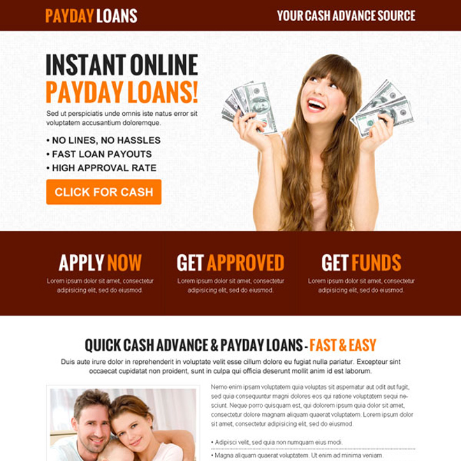 instant online payday loan call to action effective and converting landing page design template Payday Loan example