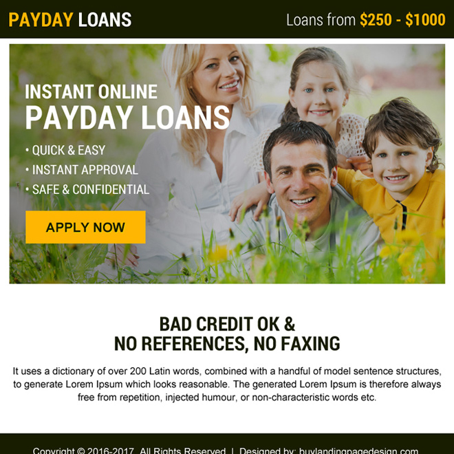 instant online payday loans minimal ppv landing page design Payday Loan example