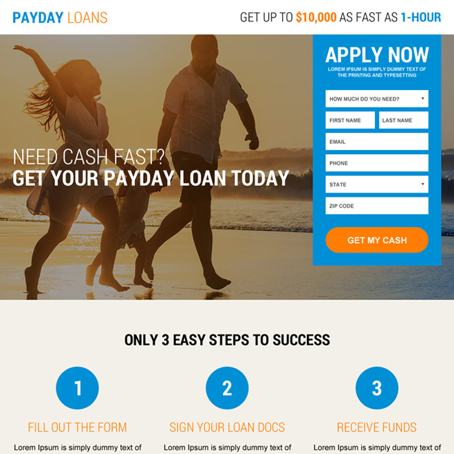responsive instant payday cash loan landing page design Payday Loan example