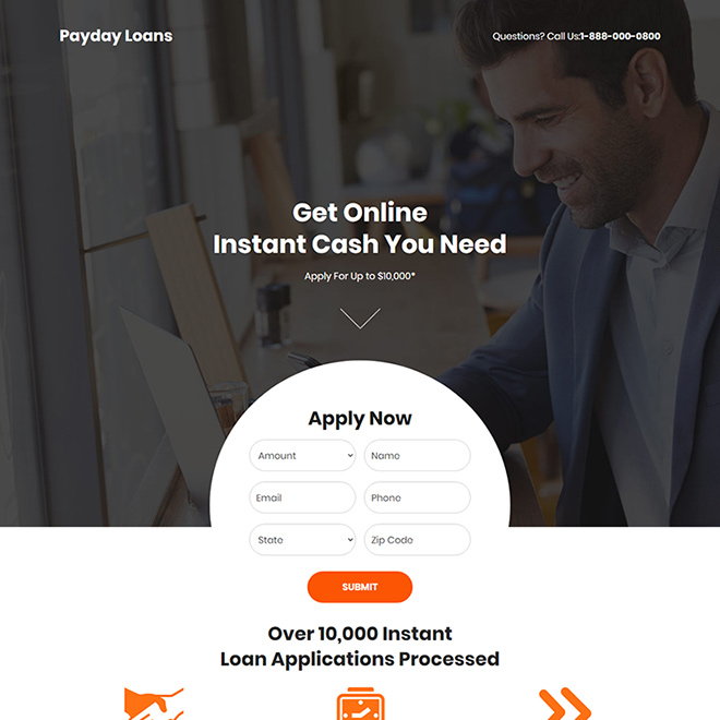 instant payday cash loan online responsive landing page Payday Loan example