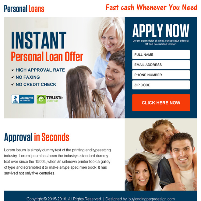 instant personal loan offer ppv landing page design Loan example