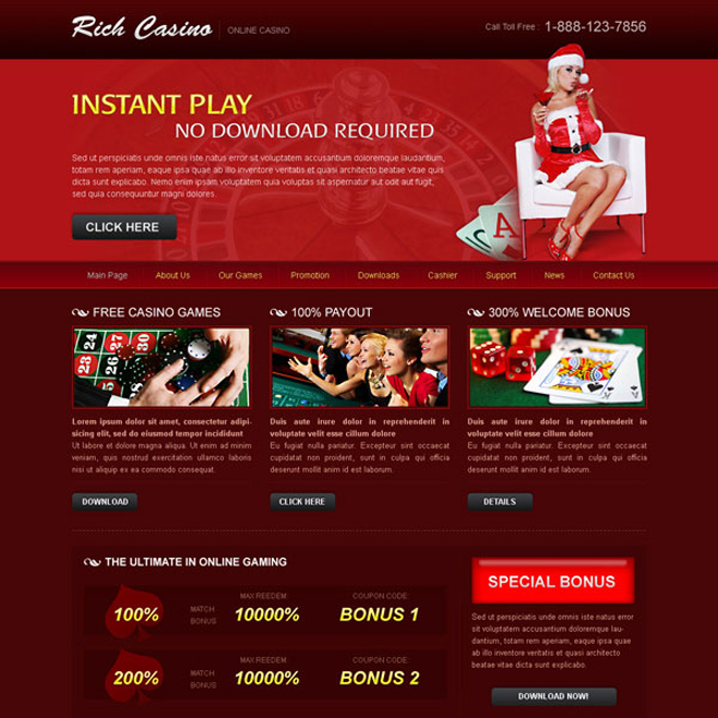 instant play rich casino attractive and appealing website template design psd to create your website Website Template PSD example