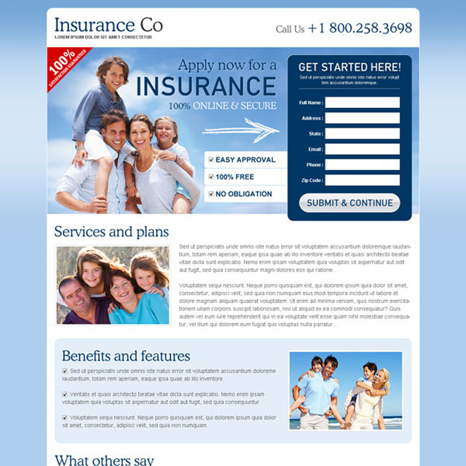 most effective and converting blue and white lead capture insurance landing page Life Insurance example